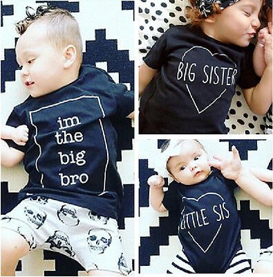 0-3Y Baby Boys Girls Kids Summer Brother Short Sleeve T-shirt Top Family Clothes