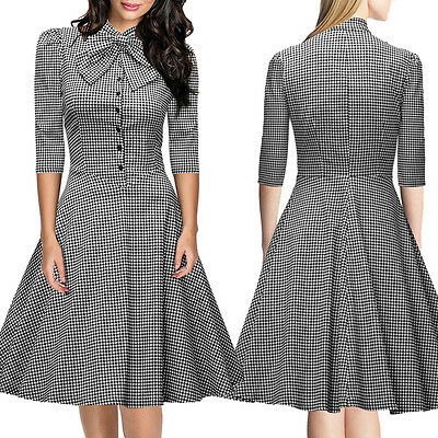 Women's Bowknot Vintage 1950s Rockabilly Casual Party Classical Swing Tea Dress