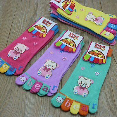 New Kids Boys Girls Cute Ankle Toe Socks Cartoon Knitted Five Fingers Stocking