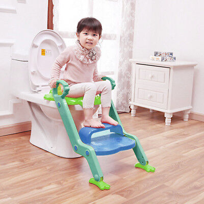 Kids Step Ladder Potty Chair Baby Potty Training Toilet Seat Foldable Non-Slip