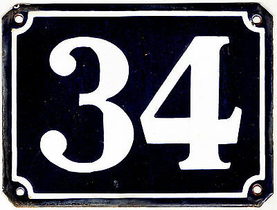 Large old blue French house number 34 door gate plate plaque enamel metal sign