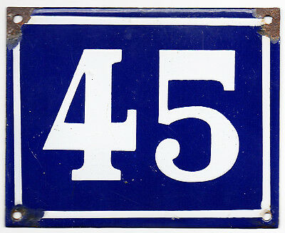 Larger old blue French house number 45 door gate plate plaque enamel steel sign