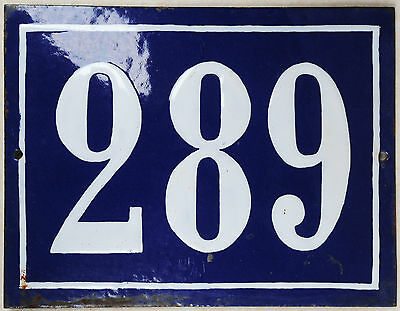 Large old blue French house number 289 door gate plate plaque enamel metal sign