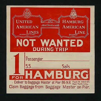 HAPAG & HARRIMAN LINE Trip to Hamburg * Old Luggage Label Kofferaufkleber