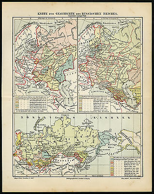Antique Map-RUSSIAN EMPIRE-RUSSIA-HISTORY-Meyers-1895