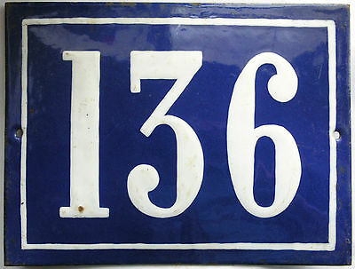 Large French house number 136 door gate plate plaque enamel steel metal sign