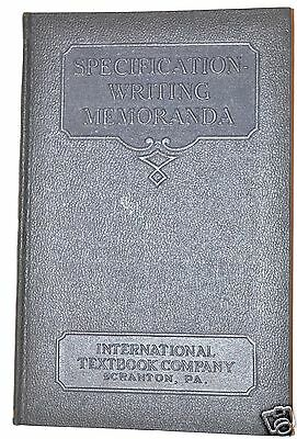 SPECIFICATION WRITING MEMORANDA Book for Structural Builders 1930  edition  RB26