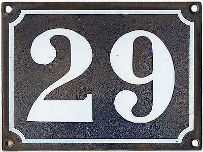 Large old French house number 29 door gate plate plaque enamel steel metal sign