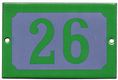 Green grey French house number 26 door gate plate plaque enamel steel metal sign
