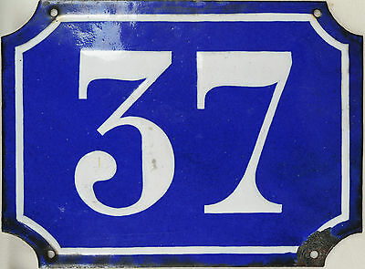 Old large blue French house number 37 door gate plaque enamel steel metal sign