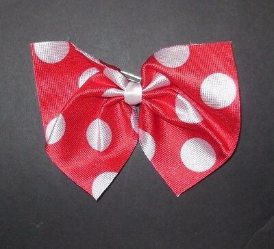 NEW in Pkg Lot of 10 Red w/ White Polka Dot BowTie Pin or Hair Accessories Dance
