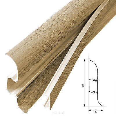 12x 2,5m Skirting Board Oak Light 60MM Base Panel Cable Channel Socket PVC