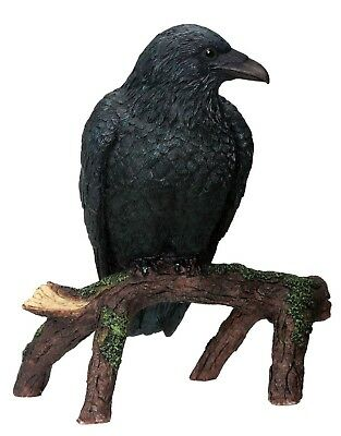 "6"" Raven Crow Statue Figurine Garden Halloween Decor High Detail Hand Painted"
