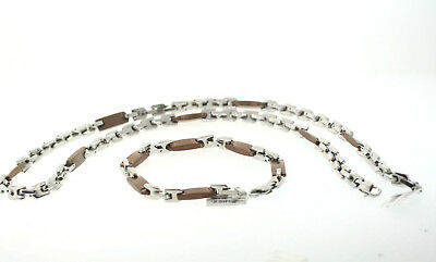 Lot of 5 Stainless Steel & Chocolate Ion Plated 7mm Necklace & Bracelet Set
