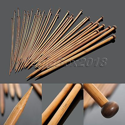 36pcs 18size Bamboo Single Pointed Knitting Needles Crocheting Needlecrafts Tool