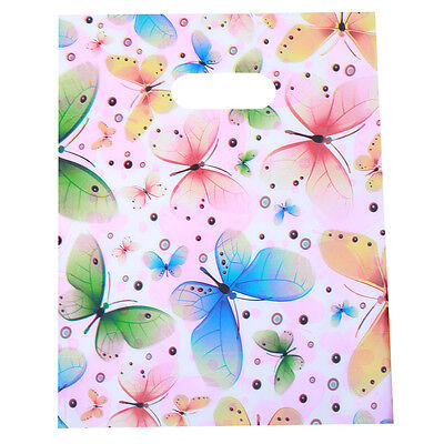 100x Multicolor Butterfly And Circle Pattern Carrier Bags Plastic Fit Shopping L