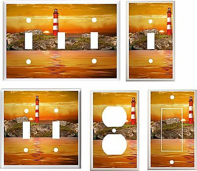 LIGHTHOUSE STORMY SUNSET  LIGHT SWITCH COVER PLATE     YOU PICK  SIZE
