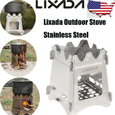 LIXADA Stainless Steel Compact Folding Wood Stove Outdoor Camping Picnic Z3T6