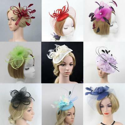 Women Lady Racing Race Party Feather Fascinator Headband Hairband Clip Brooch