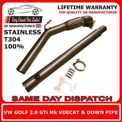 "VW Golf Mk5 MK6 GTI FSI Stainless Steel T304 Decat and Downpipe 3"" Bore UK Made"