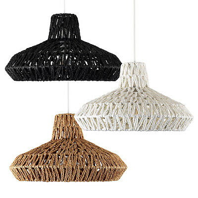 Round Rattan / Wicker Style Modern Ceiling Pendant Lamp Light Shades Lampshades