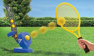 Electronic Tennis Ball Pitcher with 5 Hard Balls & Racket Outdoor Family Fun