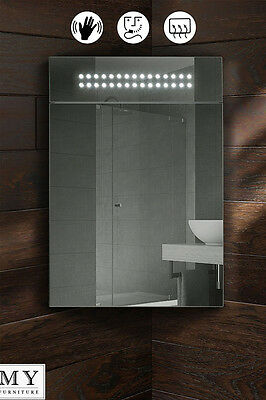 Panoramic Led Illuminated Bathroom Mirror Corner Cabinet