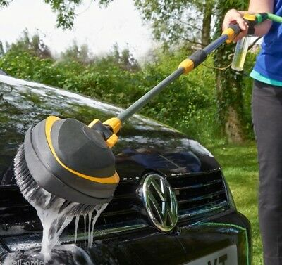 Rotating Telescopic Long Reach Car Wash Brush With Hose Connection Attachment