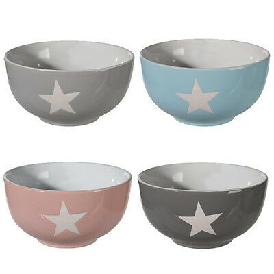 Set Of 4 Stars Cereal Bowls Stoneware Treats Food New Breakfast Kitchen Snacks