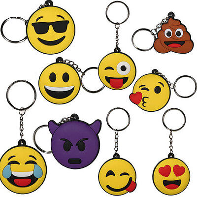 Emoji Emotion Rubber Keyring Funny Smiley Faces Gift Chain Novelty Key Ring New