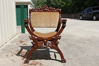 Magnificent Horner Victorian Tiger Oak Throne Chair w Roaring Winged Griffins