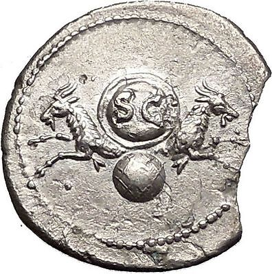 VESPASIAN 80AD Ancient Silver Roman Coin of Rome under TITUS w CAPRICORN i56039
