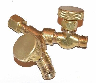 "New Y Connector with Valves for Oxygen Acetylene Welding - 9/16""-18 RH"