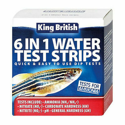 King British 6 in 1 Water Test Strips Ammonia Nitrate Carbonate Hardness pH
