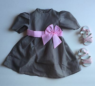My Twinn Doll Gray Dress Outfit with Pink Shoes