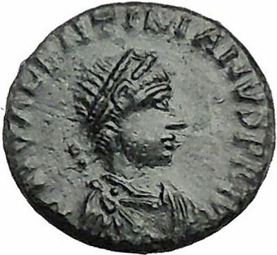 Valentinian II 388AD Ancient Roman Coin Victory Chi-Rho Christ monogram  i55886