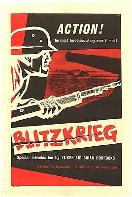 ARMORED TANKS/BLITZKRIEG original WW2 Documentary one sheet movie poster 1962