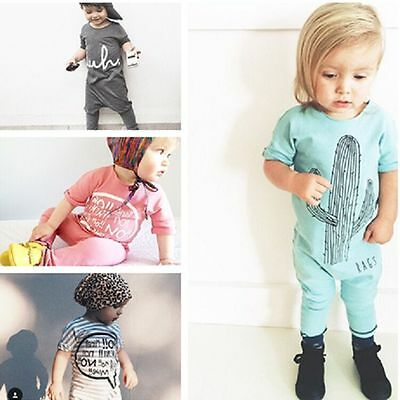 Toddler Baby Girls Boys Short Sleeve Jumpsuit Romper Kids Newborn Infant Outfits