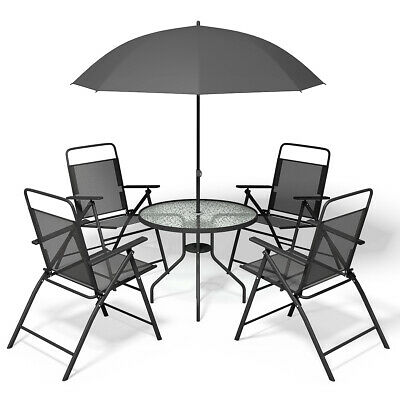 6 PCS Patio Garden Set Furniture 4 Folding Chairs Table with Umbrella Gray New