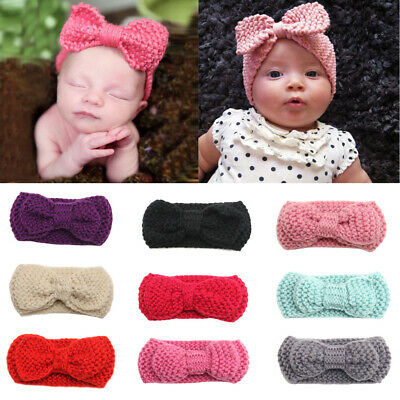 Baby Girls Newborn Crochet Hair Bow Hairband Headband Photo Props Accessories