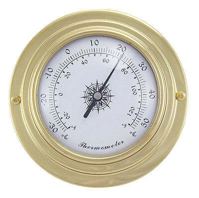 Maritimes Thermometer in Messing - Boot Schiff Yacht Instrument - sc-9402
