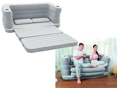 Bestway Multi Max Inflatable Sofa Couch Double Air Bed Mattress Pillows Camping