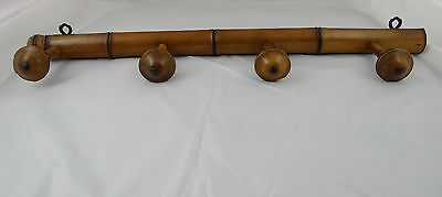 OLD FRENCH WOOD COAT RACK CHERRYWOOD - 4 PEGS HOOKS - 27 in