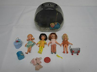 4 VINTAGE 1965 HASBRO DOLLY DARLING DOLLS with CASE & MORE