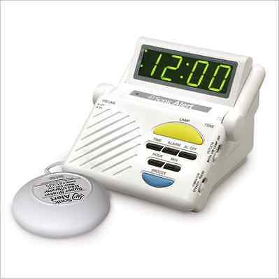 Sonic Boom Alarm Clock with Bed Shaker, White Ringer Loud Vibrating Function