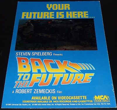 BACK TO THE FUTURE ORIGINAL 1980s VHS HOME VIDEO BACKING CARD MICHAEL J FOX