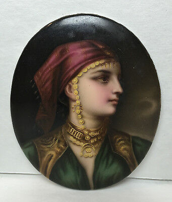Hand-Painted Porcelain Cameo Middle Eastern Girl circa 1920