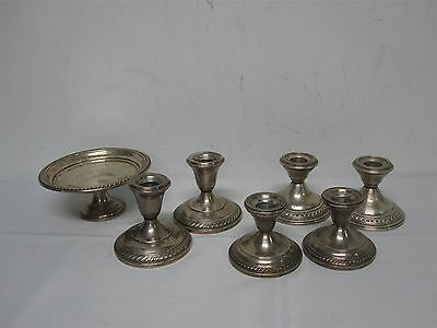 7 Pcs Sterling Silver Candlesticks & Footed Bowl
