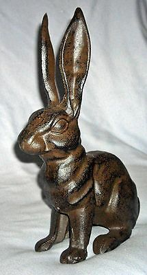 FRENCH COUNTRY RABBIT Cast Iron DOOR STOP STATUE  with BIG TALL EARS ~ Antiqued
