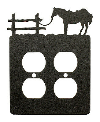 Tethered Horse Double Outlet Cover Plate Black
